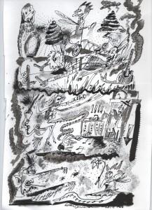 Die Installation als Skizze von Ewan Cameron, einem der beteiligtehn Performer.