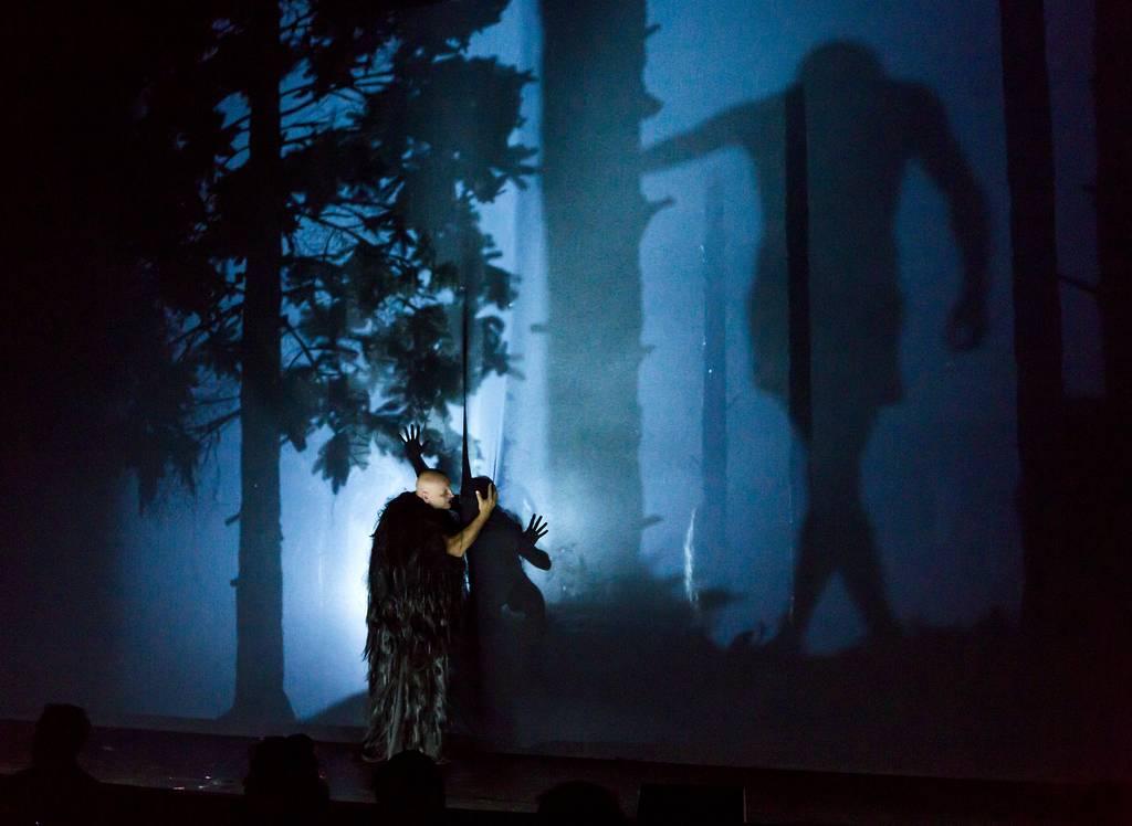 Eigenwillige Schatten spielen ihr doppeltes Spiel an der durchlässigen vierten Wand © Rolf Arnold